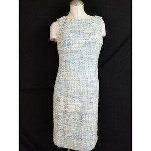 Talbots Size 10 Blue White Sheath Dress